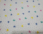 Flannel Fabric - Hearts and Dots on White - By the yard - 100% Cotton Flannel