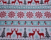 Christmas Flannel Fabric - Red Mint Deer and Snowflake in Line - By the yard - 100% Cotton Flannel