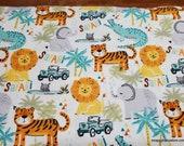 Flannel Fabric - Safari Adventure Allover - By the yard - 100% Cotton Flannel
