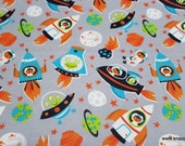 Flannel Fabric - Space Adventure - By the yard - 100% Cotton Flannel