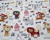 Flannel Fabric - Playful Sketch Pups - By the yard - 100% Cotton Flannel