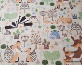 Flannel Fabric - Woodland Babies - By the yard - 100% Cotton Flannel