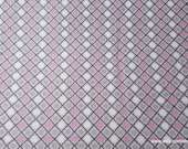 Flannel Fabric - Gray Pink Trellis Geo - By the yard - 100% Cotton Flannel