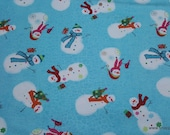 Christmas Flannel Fabric - Sweet Snowman - By the yard - 100% Cotton Flannel