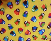 Flannel Fabric - What a Hoot Small Owls Yellow - By the Yard - 100% Cotton Flannel