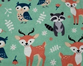 Flannel Fabric - Woodland Magic Green - By the yard - 100% Cotton Flannel