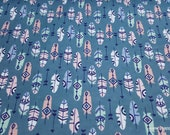 Flannel Fabric - Pastel Feathers on Teal - By the yard - 100% Cotton Flannel