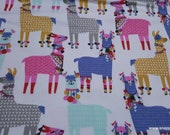 Flannel Fabric - Party Llamas - By the yard - 100% Cotton Flannel