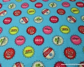 Flannel Fabric - Bottle Caps - By the yard - 100% Cotton Flannel