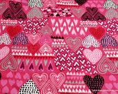 Flannel Fabric - Sketched Hearts Pink - By the yard - 100% Cotton Flannel