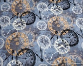 Premium Flannel Fabric - On Time Smoke Time Pieces Premium Flannel - By the yard - 100% Premium Cotton Flannel
