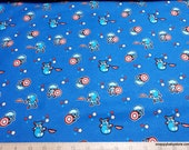 Character Flannel Fabric - Marvel Captain America Blue - By the yard - 100% Cotton Flannel
