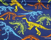 Flannel Fabric - Dino Skeletons - By the yard - 100% Cotton Flannel