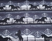 Flannel Fabric - Black Horse Aztec - By the yard - 100% Cotton Flannel
