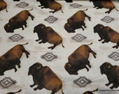 Flannel Fabric - Tossed Buffalo - By the yard - 100% Cotton Flannel