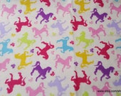 Premium Flannel Fabric - Horses and Bows Cream - By the yard - 100% Cotton Flannel