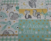 Flannel Fabric - Sleepy Animals Patchwork - By the yard - 100% Cotton Flannel