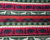 Flannel Fabric - Woodland Animals Stripe - By the yard - 100% Cotton Flannel