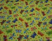 Flannel Fabric - Happy Folk Butterflies and Dragonflies Yellow - By the yard - 100% Cotton Flannel