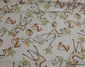 Flannel Fabric - Happy Camper Animals - By the yard - 100% Cotton Flannel