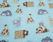 Flannel Fabric - Lazy Cat and Mouse - By the yard - 100% Cotton Flannel