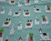 Christmas Flannel Fabric - Llama Fun Holiday - By the yard - 100% Cotton Flannel