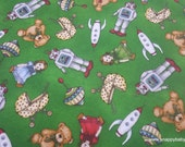 Christmas Premium Flannel Fabric - Christmas Joys Toys on Green Premium  - By the yard - 100% Cotton Flannel