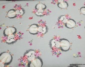 Flannel Fabric - Hedgehog Floral - By the yard - 100% Cotton Flannel