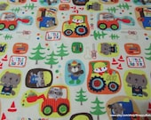 Flannel Fabric - Little Builders Construction - By the yard - 100% Cotton Flannel