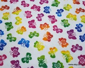 Flannel Fabric - Rainbow Butterflies on White - By the yard - 100% Cotton Flannel