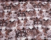 Flannel Fabric - Wolf Heads Packed - By the Yard - 100% Cotton Flannel