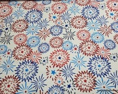 Flannel Fabric - Red Blue Fireworks - By the yard - 100% Cotton Flannel