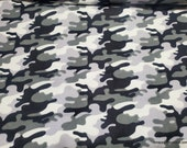 Flannel Fabric - Camo Snow - By the yard - 100% Cotton Flannel