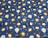 Character Flannel Fabric - Friends Character Toss on Blue - By the yard - 100% Cotton Flannel
