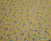 Flannel Fabric - Kittens on Yellow - By the yard - 100% Cotton Flannel