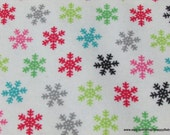 Christmas Flannel Fabric - Colorful Snowflakes on White - By the Yard - 100% Cotton Flannel