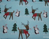 Christmas Flannel Fabric - Reindeer in Sweaters - By the yard - 100% Cotton Flannel