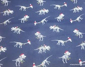 Christmas Flannel Fabric - Dino Skeleton Lights on Navy - By the yard - 100% Cotton Flannel