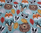 Flannel Fabric - Stay Wild Animal Faces - By the yard - 100% Cotton Flannel