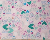 Flannel Fabric - Scribbled Hearts Light Pink - By the yard - 100% Cotton Flannel