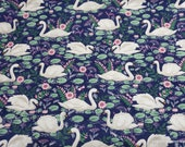 Flannel Fabric - Curious Swans - By the yard - 100% Cotton Flannel