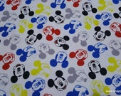 Flannel Fabric - Disney Mickey Mouse Heads - By the yard - 100% Cotton Flannel