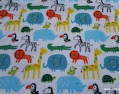 Flannel Fabric - Bright Safari Animals - By the yard - 100% Cotton Flannel