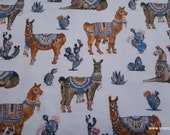 Flannel Fabric - Desert Llama on White - By the yard - 100% Cotton Flannel