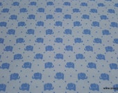 Flannel Fabric -Elephants Marching Blue - By the yard - 100% Cotton Flannel