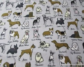 Flannel Fabric - Dog Breeds - By the yard - 100% Cotton Flannel