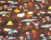 Flannel Fabric - Harmony Farm Main Brown - By the yard - 100% Cotton Flannel