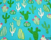 Flannel Fabric - Blooming Cactus - By the yard - 100% Cotton Flannel