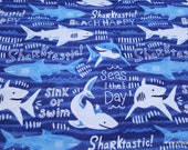 Flannel Fabric - Sharktastic - By the yard - 100% Cotton Flannel