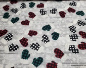 Christmas Flannel Fabric - Buffalo Check Mittens - By the Yard - 100% Cotton Flannel